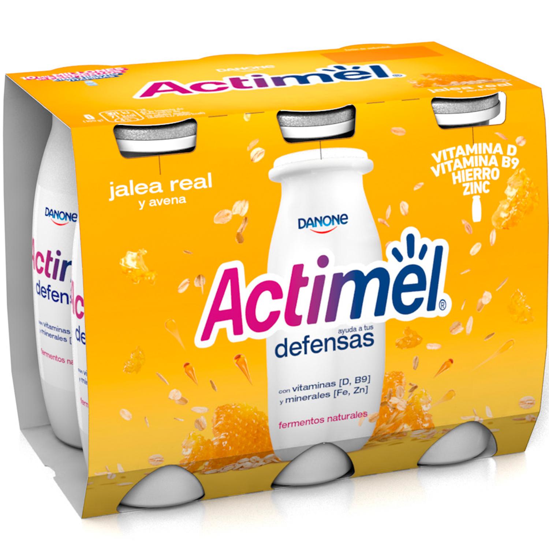 Yogur L.Casei liquido con jalea real y avena Danone Actimel pack de 6 unidades de 100 g. -