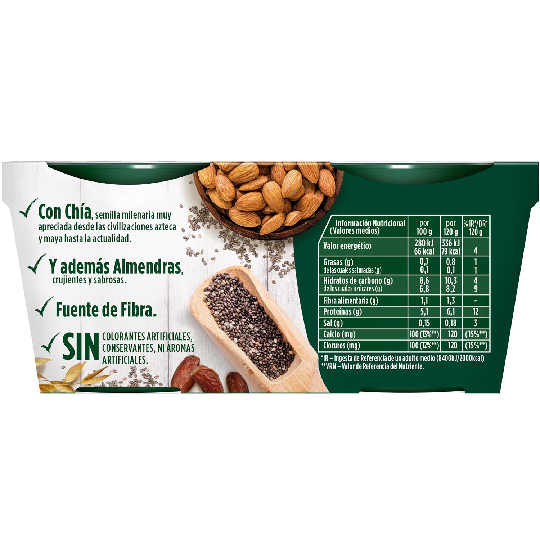 Yogur bífidus desnatado con chía y almendras 0% azúcar añadido Danone Activia pack de 2 unidades de 120g. -