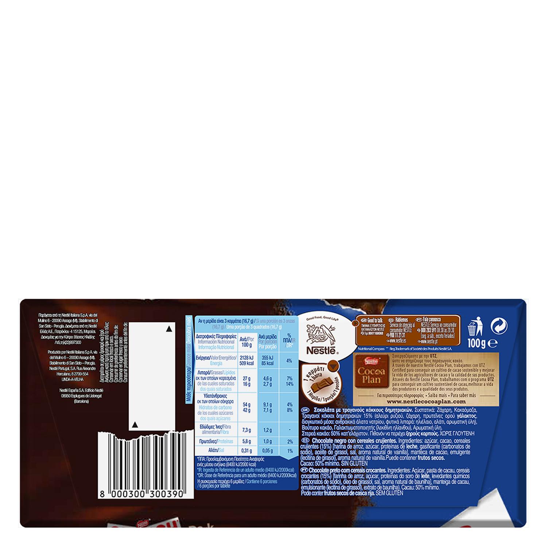 Chocolate negro con cereales crujientes Nestlé sin gluten 100 g. -