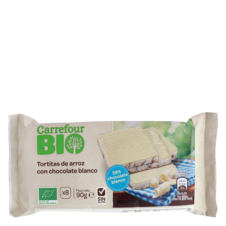 Tortitas de arroz con chocolate blanco ecológicas Carrefour Bio sin gluten Bio 90 g.