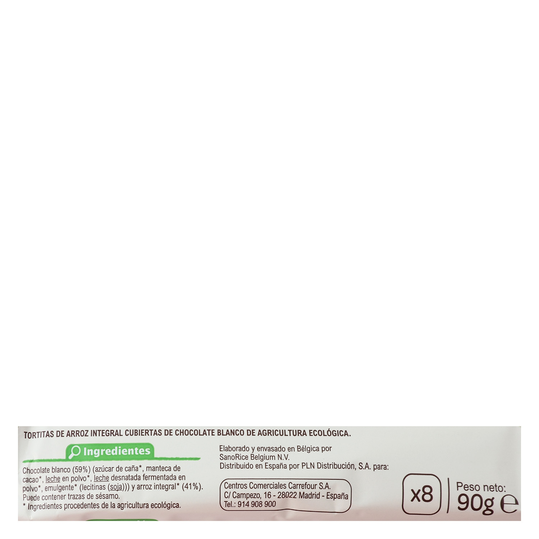 Tortitas de arroz con chocolate blanco ecológicas Carrefour Bio sin gluten Bio 90 g. -