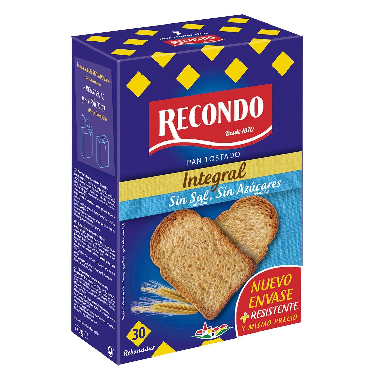 Pan tostado integral sin sal y sin azúcar