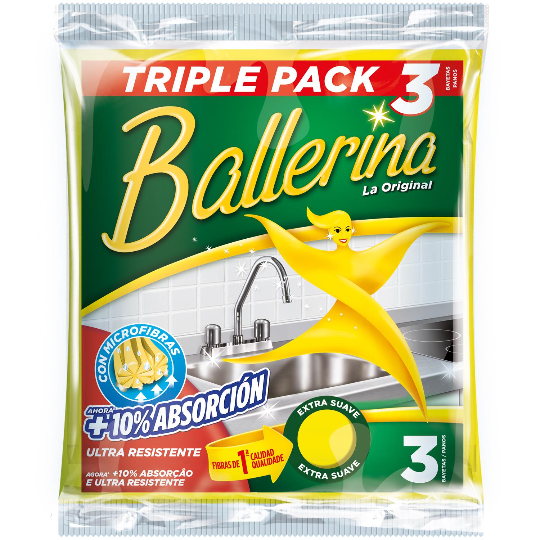 3 Bayetas Multiusos Sintética Ballerina  - Amarilla