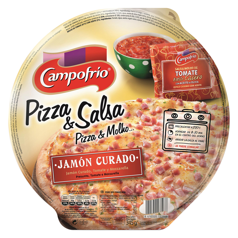 Pizza Andaluza con jamón curado, tomate y mozzarella