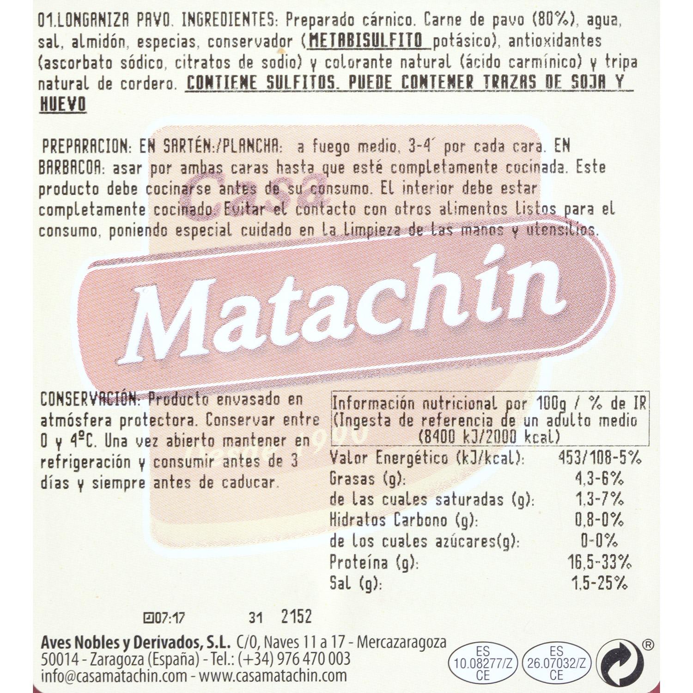 Longaniza 100% pavo Matachín 350 g - 3