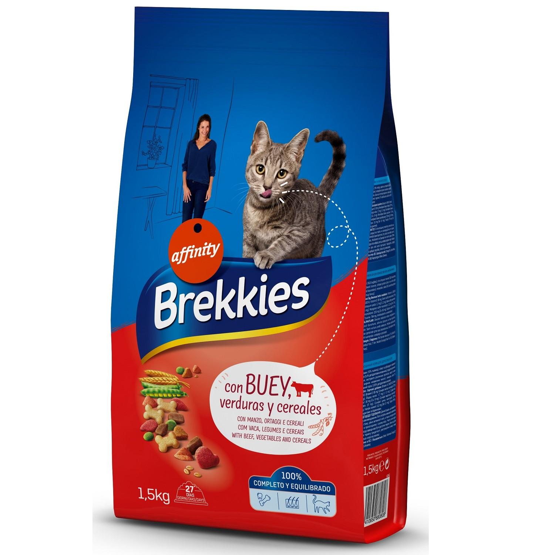 Brekkies Pienso para Gato  Adultos ternera 1,5 kg -