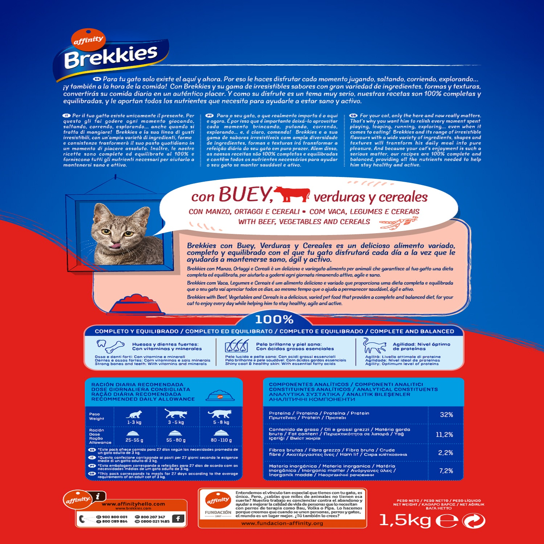 Brekkies Pienso para Gato  Adultos ternera 1,5 kg - 2