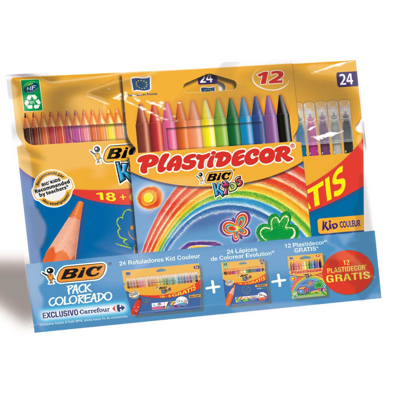 Pack Coloreado Superchollo Bic (24 Lápices + 24 Rotuladores) + 12 Plastidecor Gratis  - Surtidos
