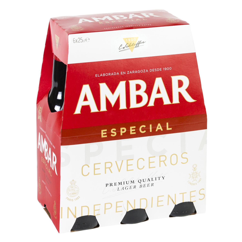 Cerveza Ambar Lager especial pack de 6 botellas de 25 cl.
