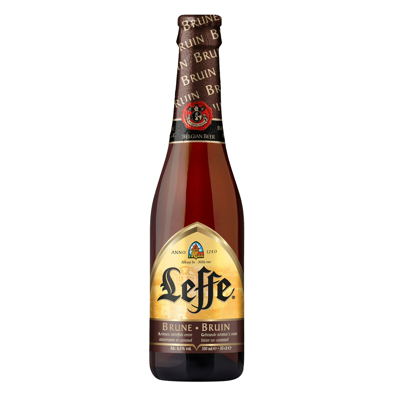 Cerveza Leffe Brune belga negra botella 33 cl.
