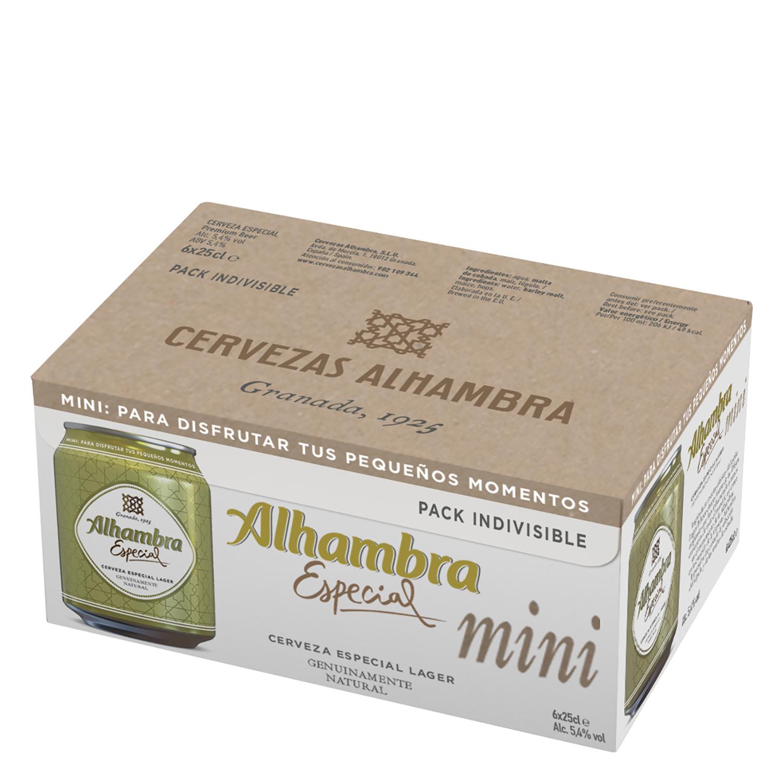 Cerveza Alhambra Lager especial pack de 6 latas de 25 cl.