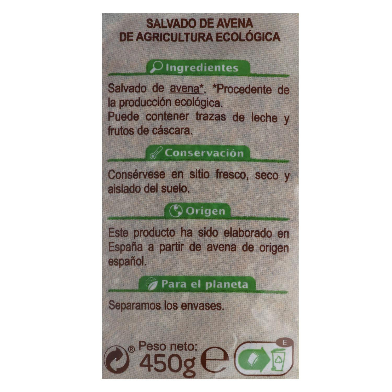 Salvado de avena ecológico Carrefour Bio 450 g. -