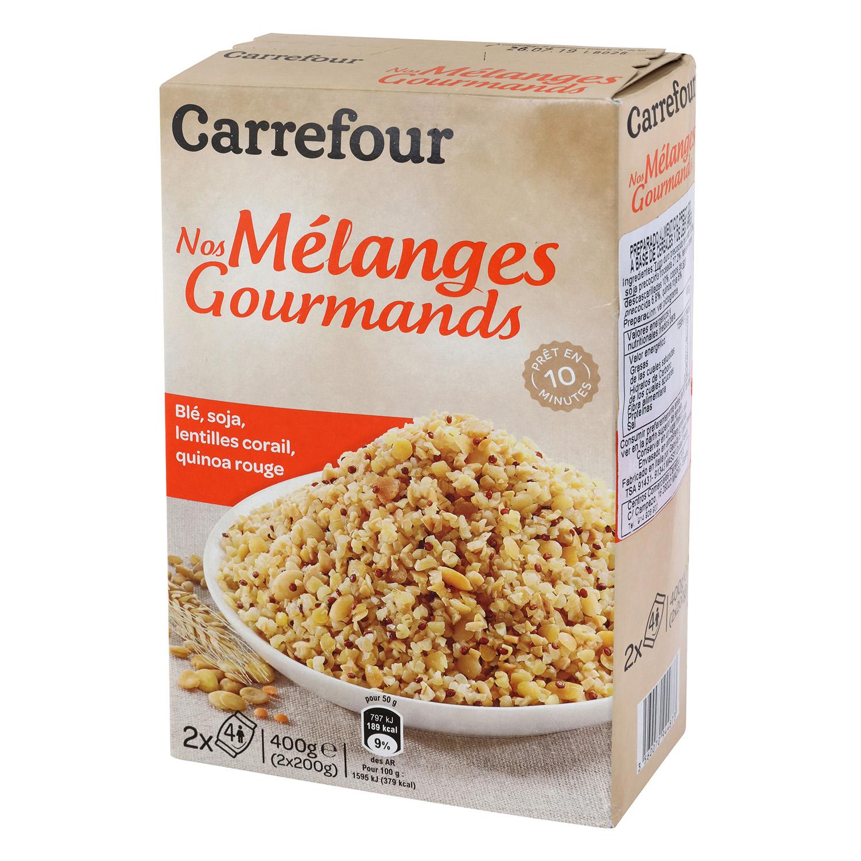 Mezcla de trigo, soja, lentejas y quinoa roja Carrefour pack de 2 ud. de 200 g.