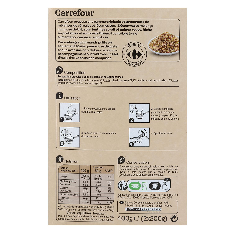 Mezcla de trigo, soja, lentejas y quinoa roja Carrefour pack de 2 ud. de 200 g. - 2