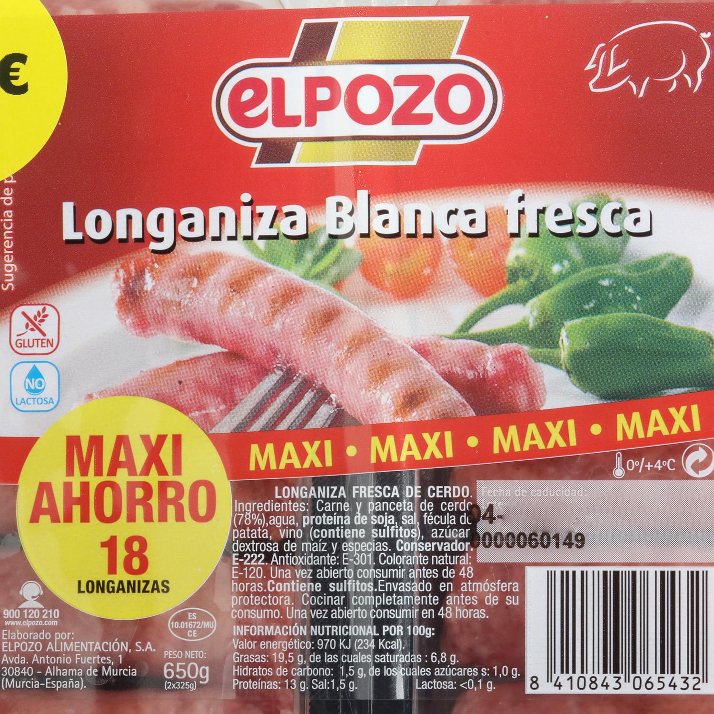 Longaniza Blanca de Cerdo Fresca El Pozo 650 g - 3