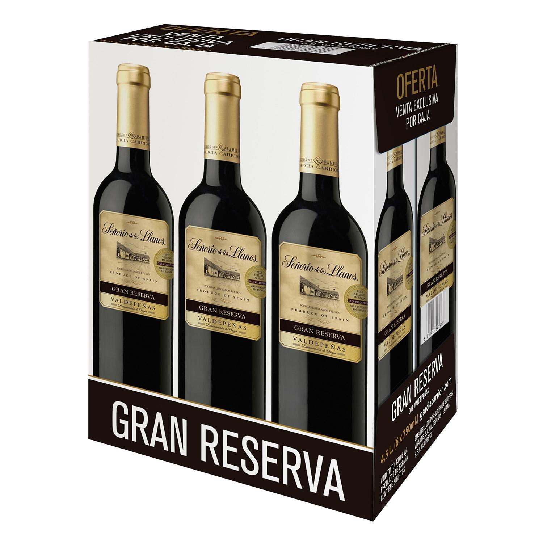 Estuche de vino D.O Valdepeñas tinto gran reserva Señorío de los Llanos pack 6x750 ml.
