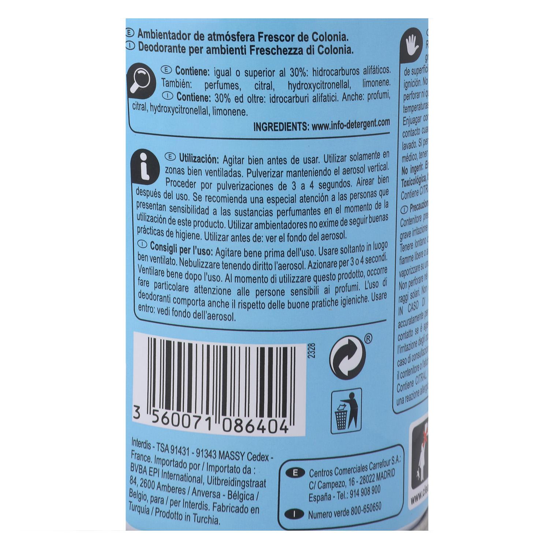 Ambientador spray Colonia Carrefour 250 ml. -