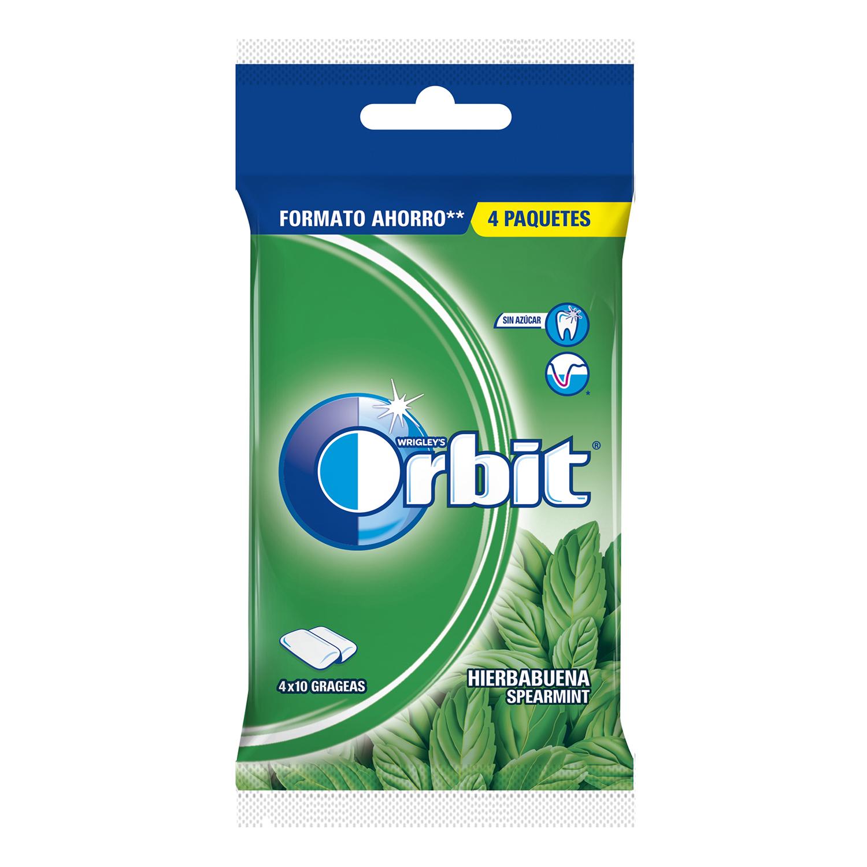 Chicles sabor hierbabuena Orbit 4 paquetes de 10 ud.
