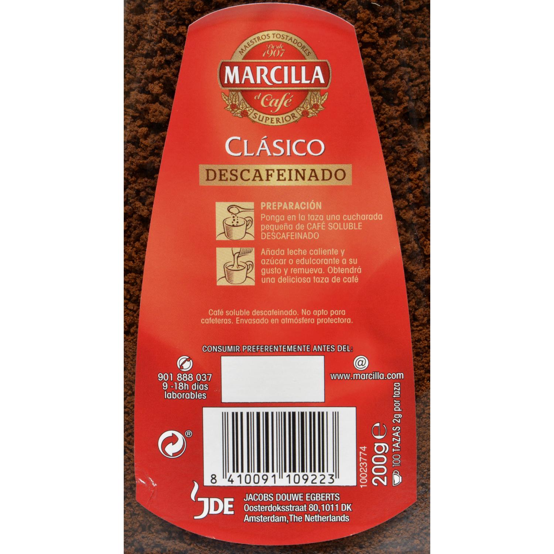 Café soluble descafeinado Marcilla 200 g. -