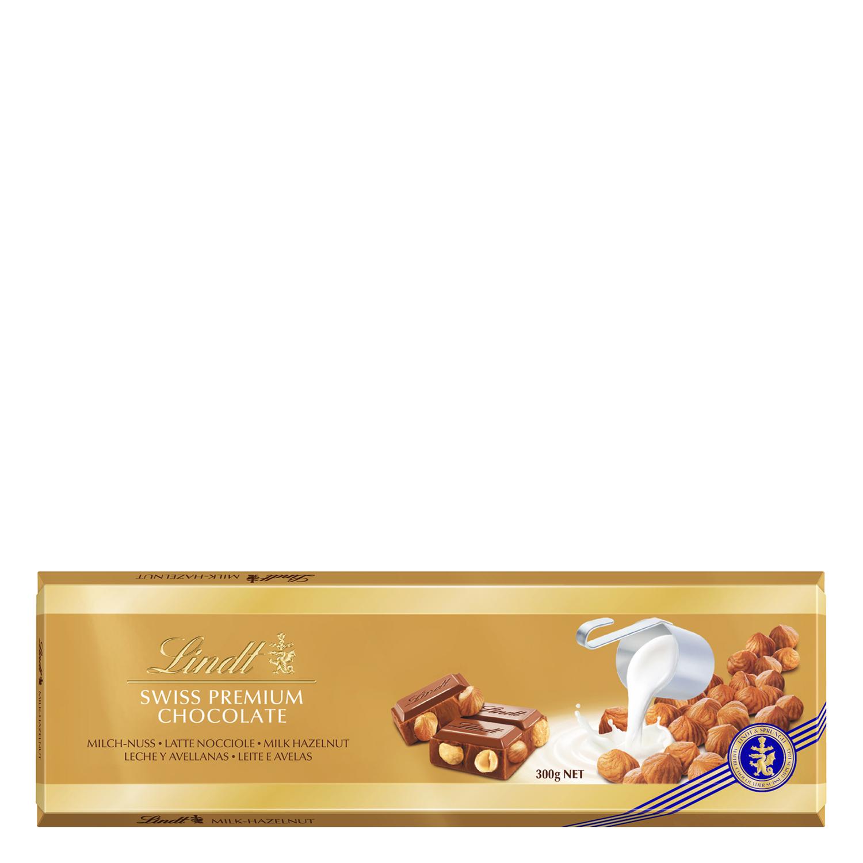 Chocolate suizo con leche y avellanas premium Lindt 300 g.