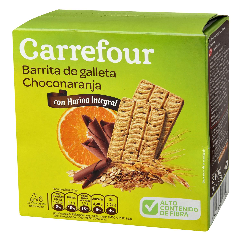 Barritas de galleta sabor a chocolate y naranja