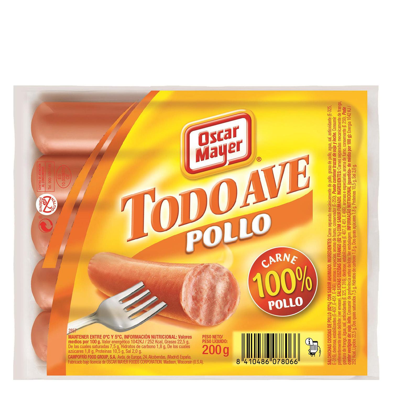 Salchichas cocidas de pollo 'Todo Ave' Oscar Mayer 200 g.