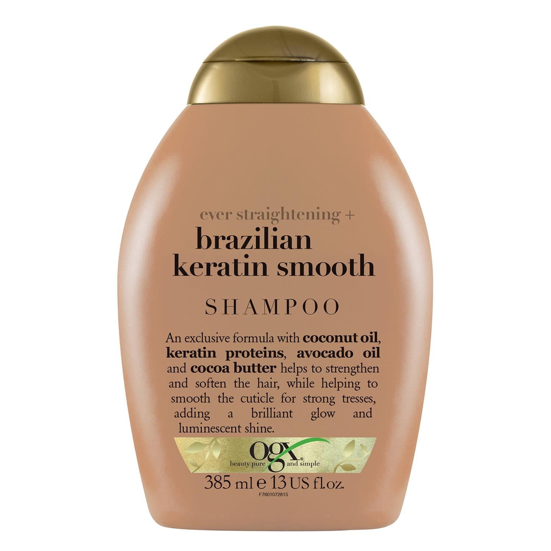 Champú con keratina Brasil para cabello liso OGX 385 ml.