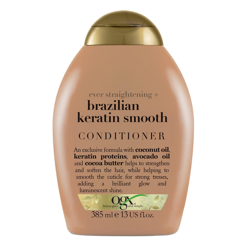 Acondicionador con keratina Brasil para cabello liso OGX 385 ml.