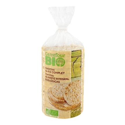 Tortitas de arroz integrales ecológicas Carrefour Bio 100 g.