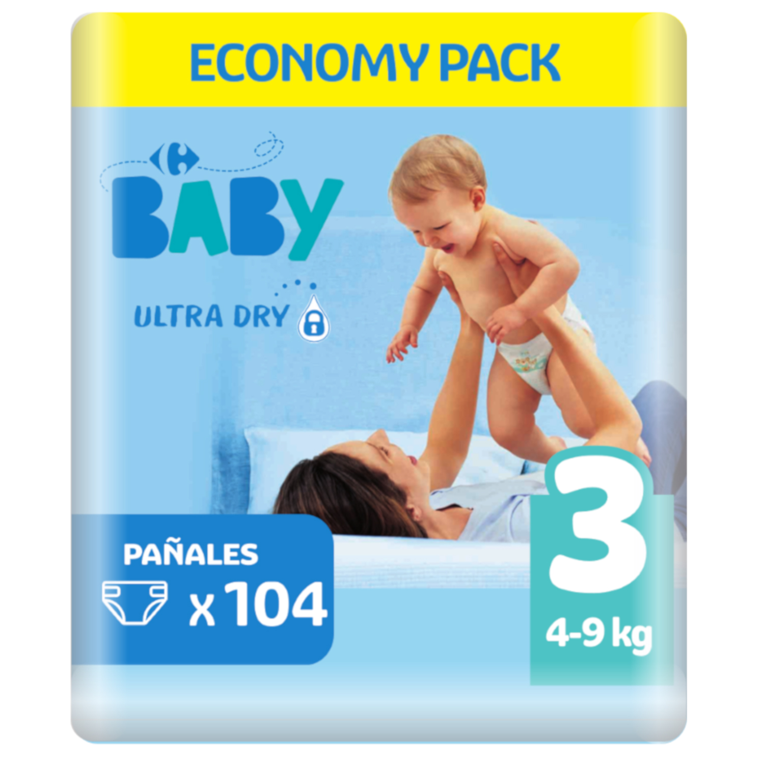 Pañales ultra dry Carrefour Baby T3 (4kg.-9kg.) 104 ud.