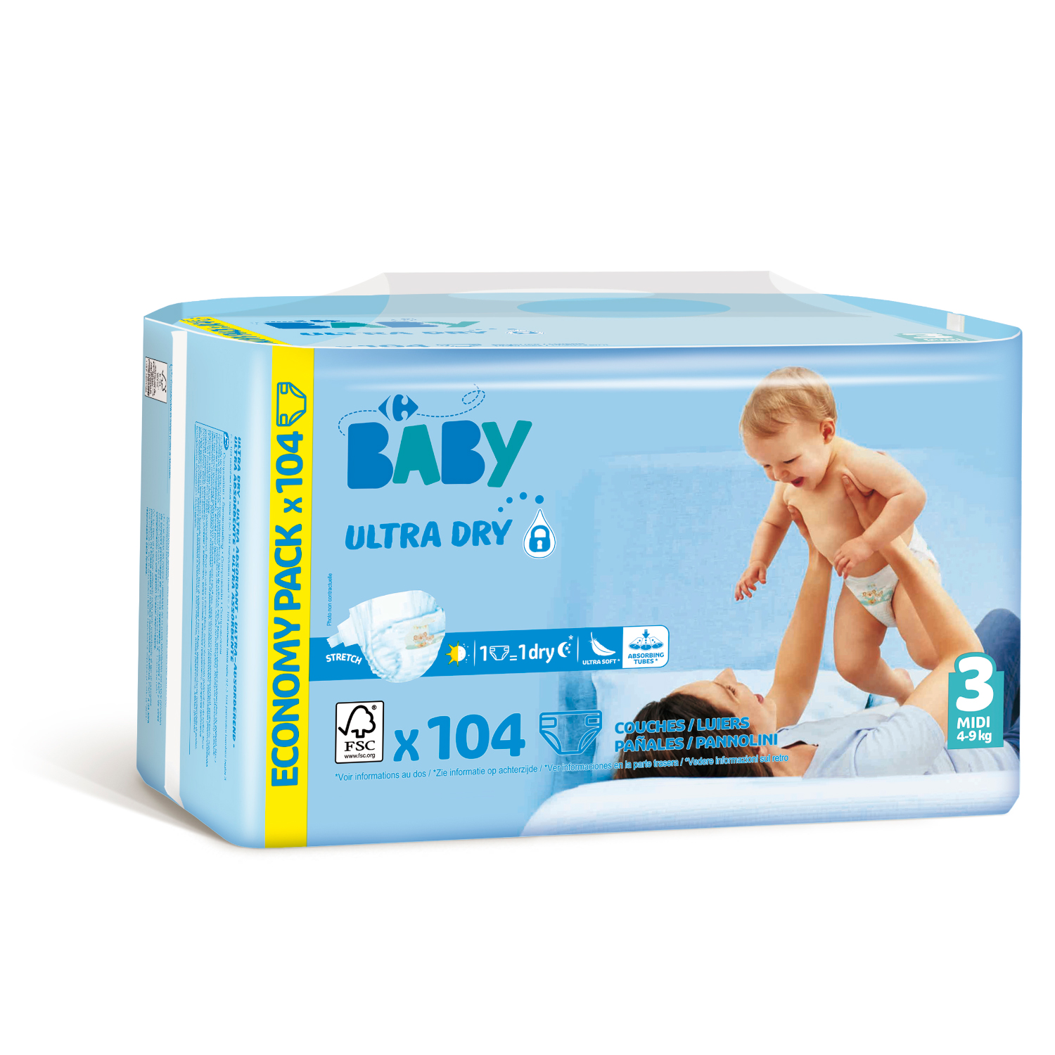 Pañales ultra dry Carrefour Baby T3 (4kg.-9kg.) 104 ud. -
