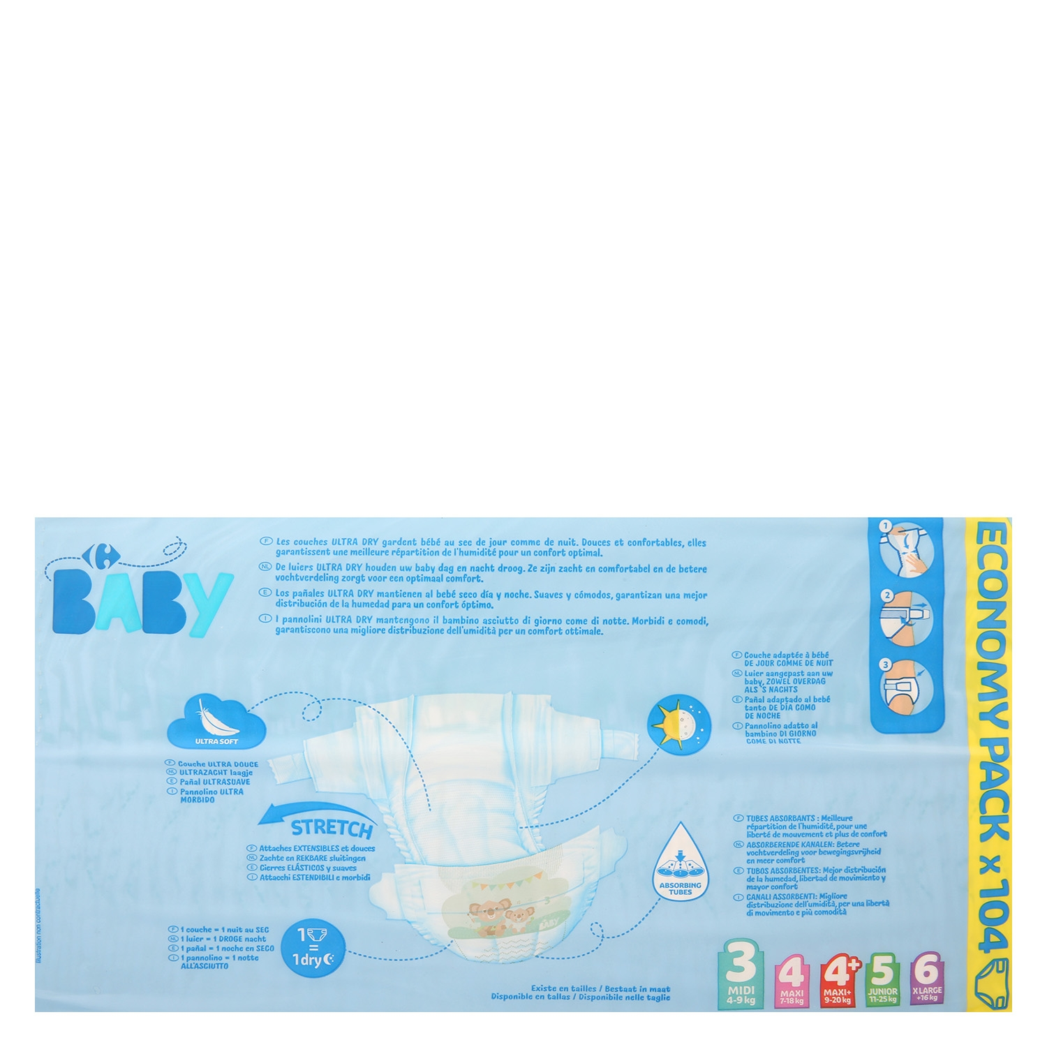 Pañales ultra dry Carrefour Baby T3 (4kg.-9kg.) 104 ud. - 2
