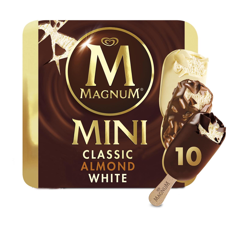 Mini bombón helado Classic, Almond, White Magnum sin gluten 10 ud. -