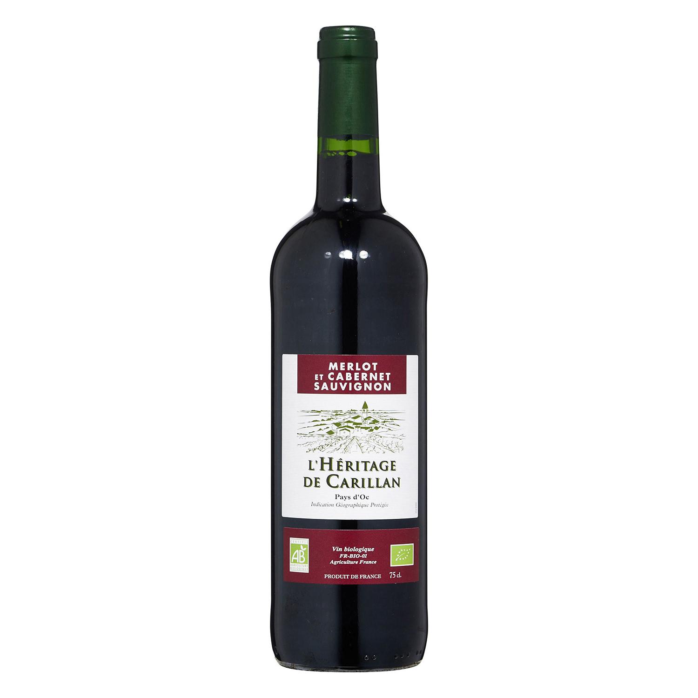 Vino tinto Merlot et Cabernet Sauvignon ecológico L'Hêritage de Carillan 75 cl.