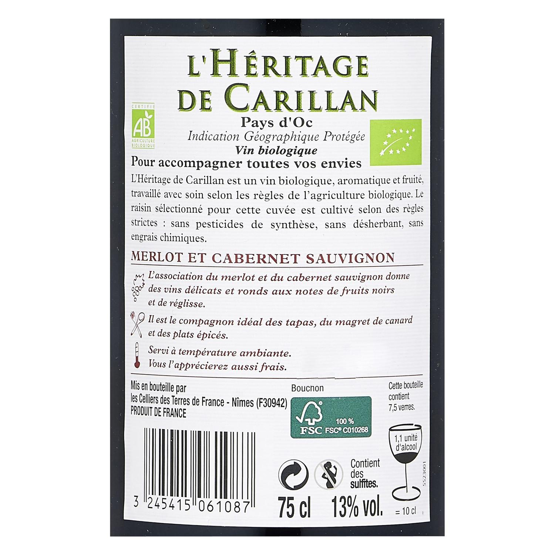 Vino tinto Merlot et Cabernet Sauvignon ecológico L'Hêritage de Carillan 75 cl. -