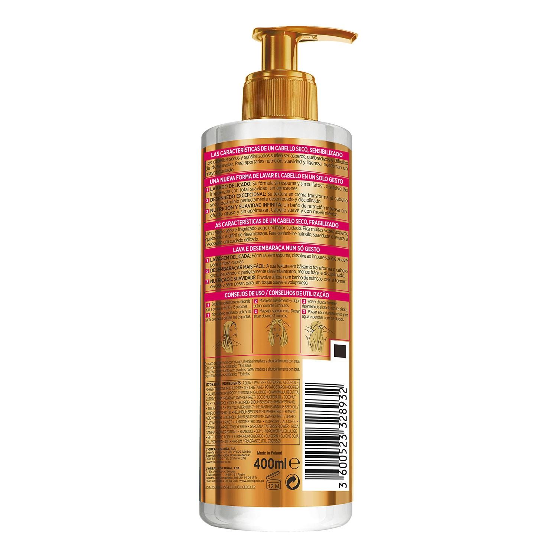 Crema de lavado Low Shampoo Aceite Extraordinario para cabellos secos L'Oréal-Elvive 400 ml. -