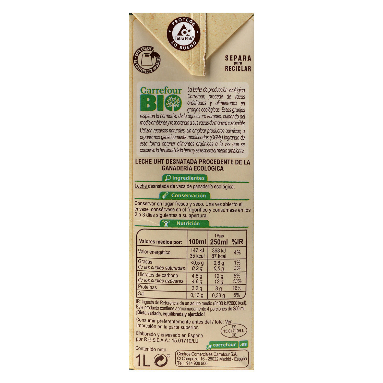 Leche desnatada ecológica Carrefour Bio  brik 1 l. -
