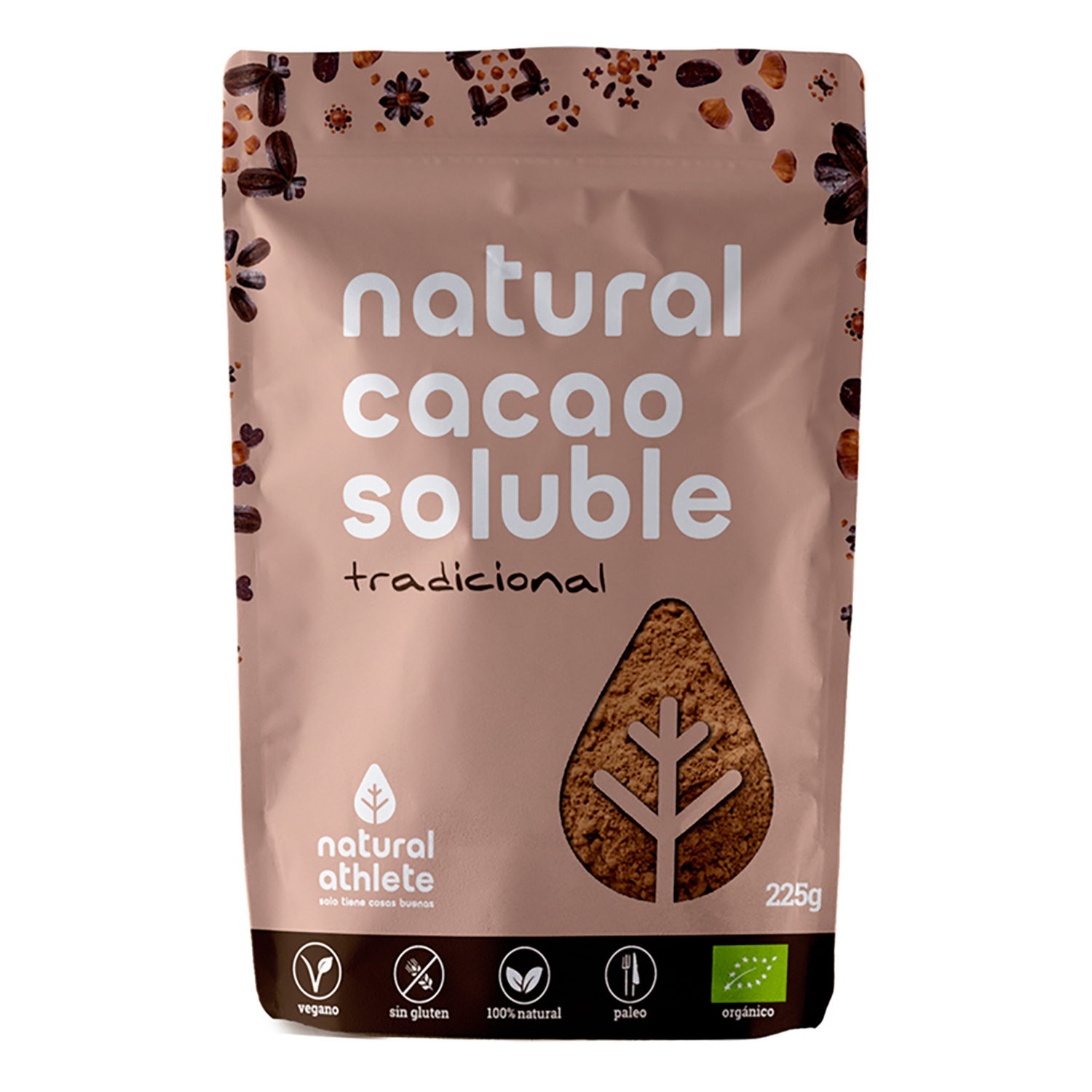 Cacao soluble natural ecológico Natural Athlete sin gluten 225 g.