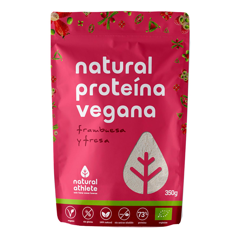 Proteina vegana natural sabor frambuesa y fresa ecológica sin azúcar añadido Natural Athlete sin gluten 350 g.
