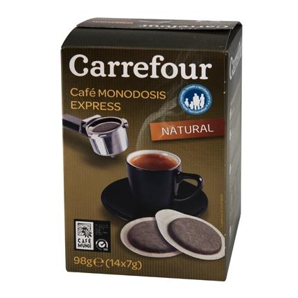Café natural express monodosis Carrefour 14 unidades de 7 g.