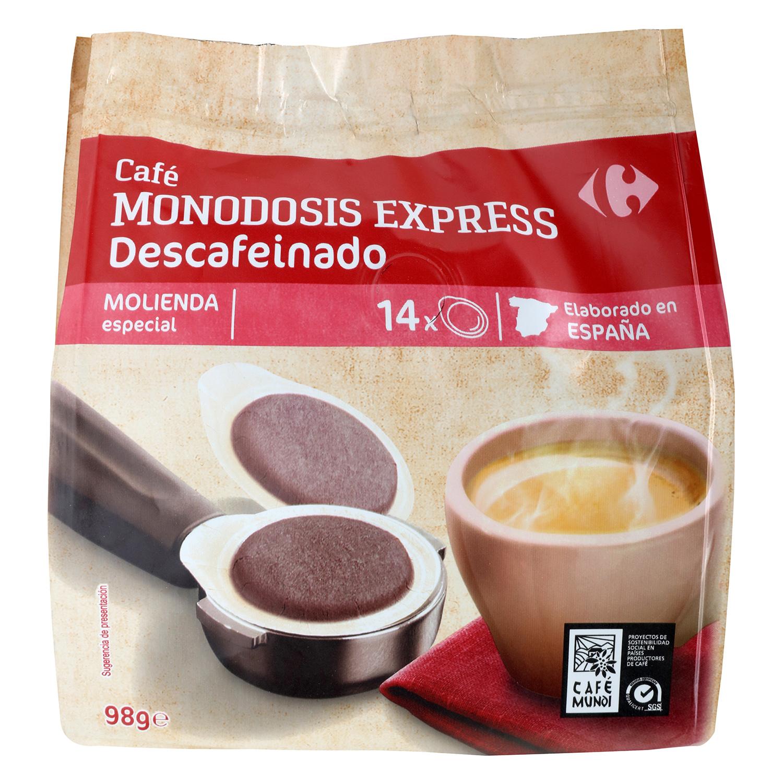 Café descafeinado express monodosis Carrefour 14 unidades de 7 g.