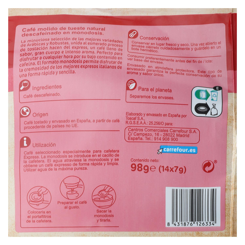 Café descafeinado express monodosis Carrefour 14 unidades de 7 g. -