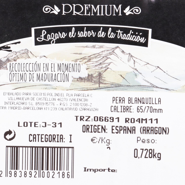 Pera blanquilla selecta Carrefour bandeja 4 ud 500 g aprox - 3
