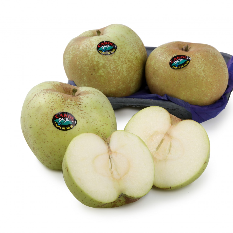 Manzana reineta verde premium selecta Carrefour bandeja 4 ud 1 Kg aprox