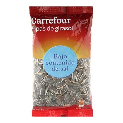Pipas de girasol bajo contenido en sal Carrefour 125 g.