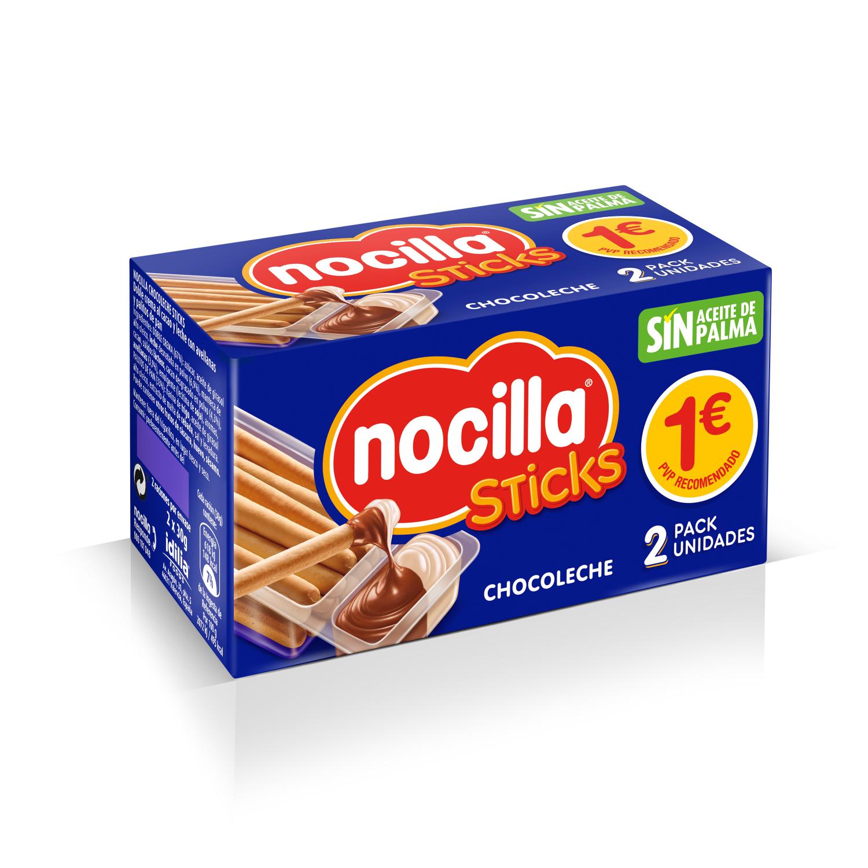 Palitos de pan con crema de cacao y leche con avellanas Sticks Nocilla pack de 2 unidades de 30 g.