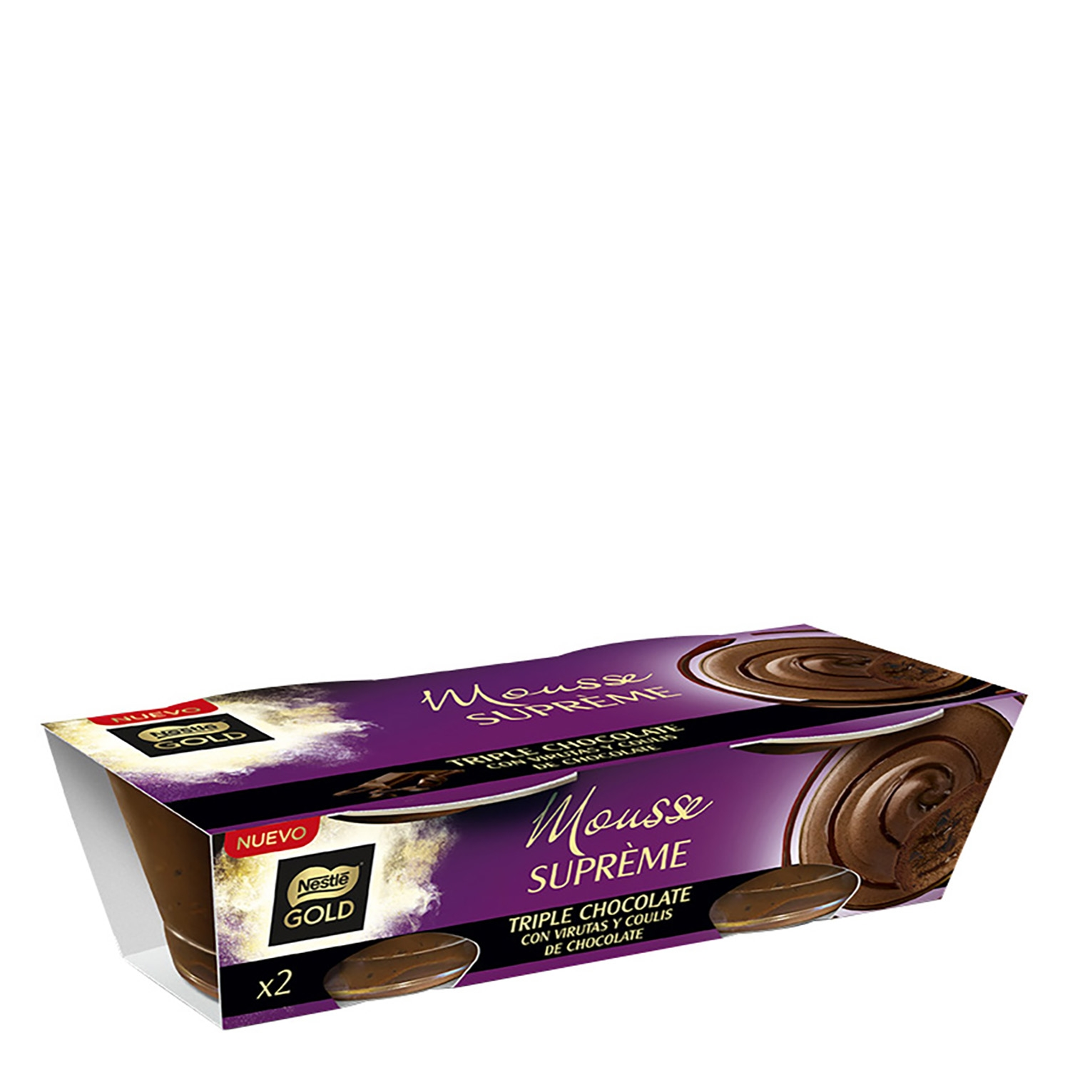 Mousse supreme triple chocolate Nestlé-Gold pack de 2 unidades de 90 g.