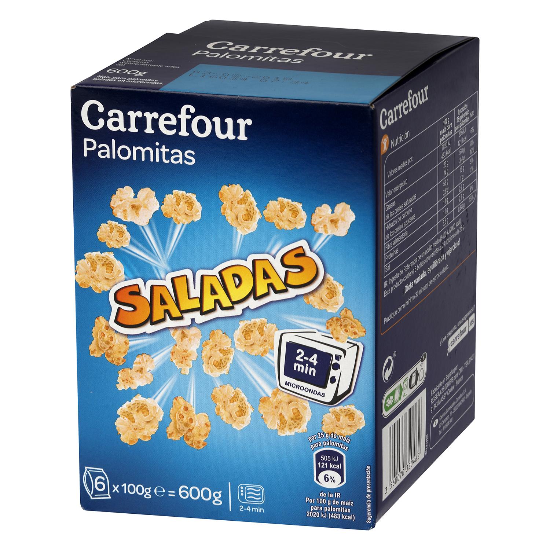 Palomitas saladas para microondas Carrefour pack de 6 bolsas de 100 g.