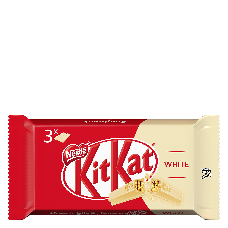 Barritas de galleta crujiente cubierta de chocolate blanco Nestlé Kit Kat pack de 3 unidades de 41,5 g.