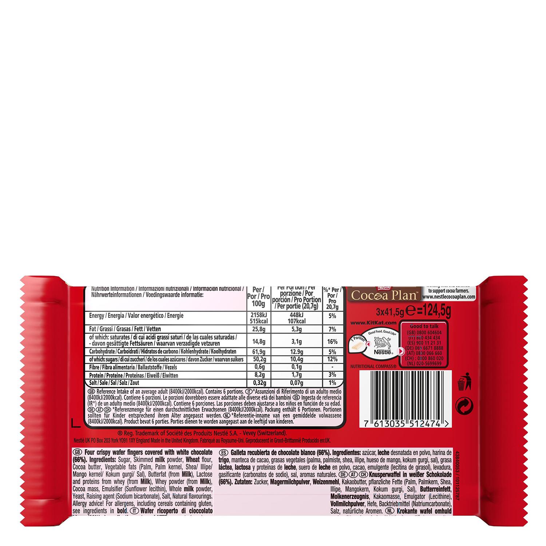 Barritas de galleta crujiente cubierta de chocolate blanco Nestlé Kit Kat pack de 3 unidades de 41,5 g. -